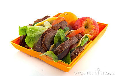 Healthy open lunch box