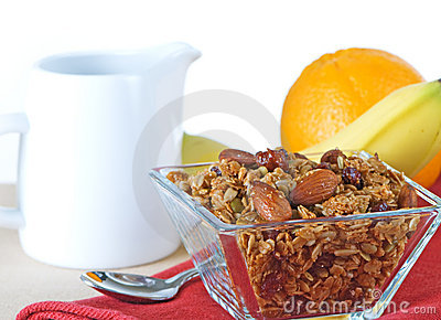 Healthy Organic Granola And Fruit Breakfast
