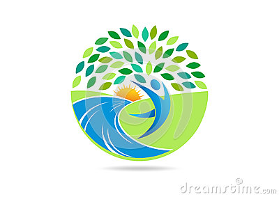 Healthy people logo, active body fit symbol and natural wellness center vector icon design.