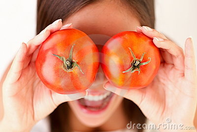 Healthy people: Tomato woman fun