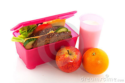 Healthy pink lunch box