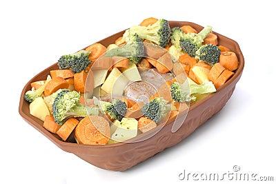 Healthy raw food in bowl