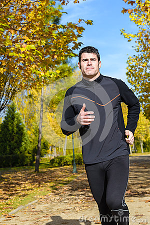 Healthy runner in park
