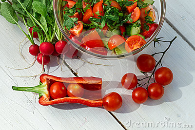 Healthy salad made in the garden