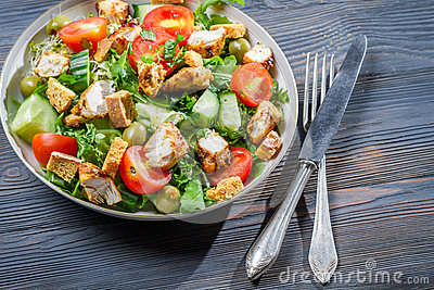 Healthy salad made with fresh vegetables