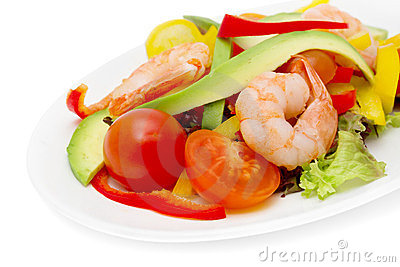 Healthy salad of shrimp