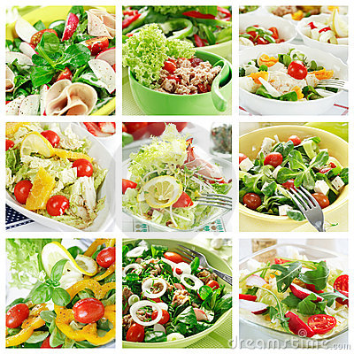 Free Healthy Salads Collage Stock Images - 7629664