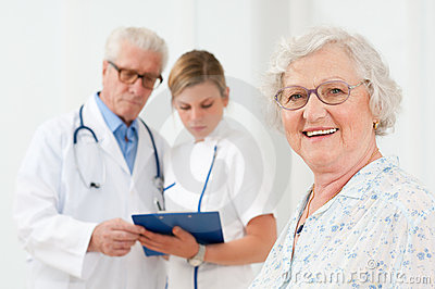 Healthy senior woman at hospital