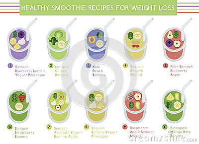 Healthy Smoothie Recipes For Weight Loss Stock Vector Image 49527041