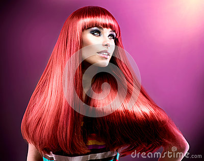 Healthy Straight Long Red Hair