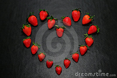 Healthy Strawberries Arranged in Good Heart Shape