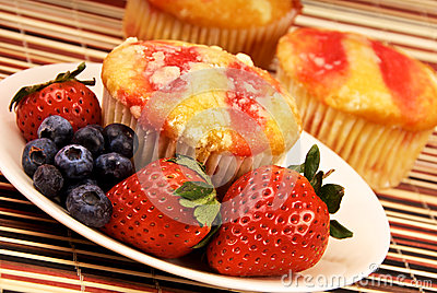 Healthy Strawberry Muffin Desert and Fruit