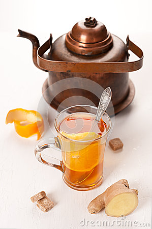 Healthy tea with ginger and orange