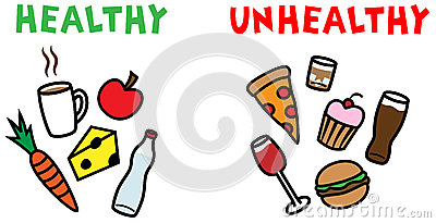 Healthy and unhealthy food and drinks