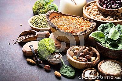Healthy vegan food assortment. Stock Photo