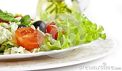 Healthy vegetarian salad  on white