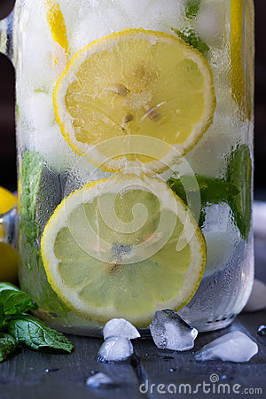 Free Healthy Water With Mint, Sliced Lemons And Cucumbers. Diet Drink. Sassy Water. Mason Jar Full With Sliced Fruits And Vegetables. Royalty Free Stock Image - 92692156
