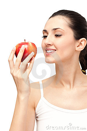 Healthy woman with appel