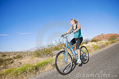 Healthy Woman on a bike ride