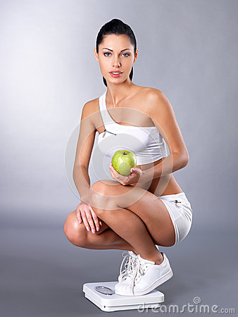 Healthy woman after diet