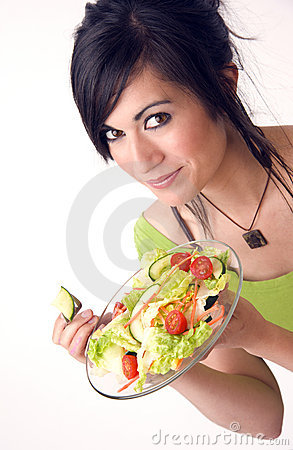 Healthy Happy Woman Eating Fresh Green Salad