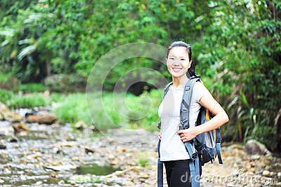 Healthy woman hiking