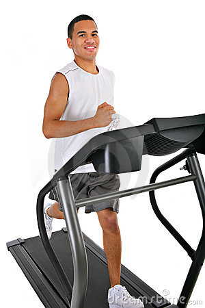 Healthy Young Man Running in Treadmill