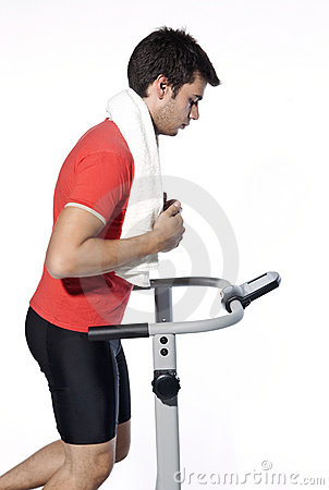 Healthy Young Man Workout on Treadmill