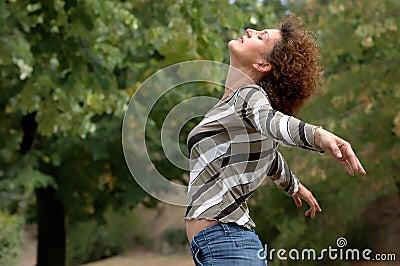 Healthy young woman enjoys life