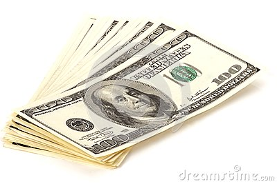 Heap of 100 dollars banknotes