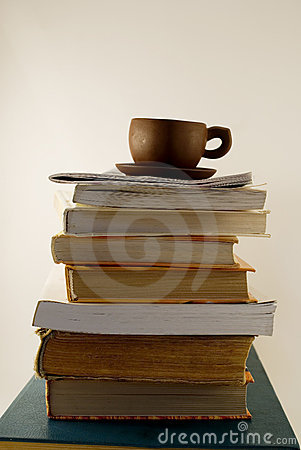 The heap of the book and cup