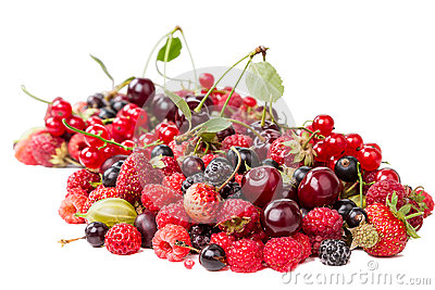 Heap different berries on white