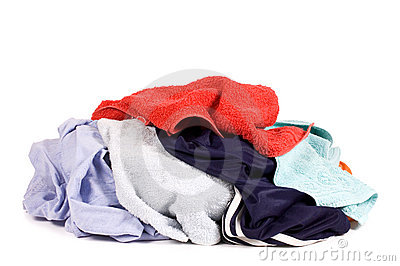 Heap of dirty linen isolated on white