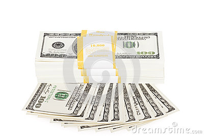Heap of a dollar banknotes
