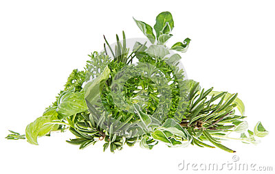 Heap of fresh Herbs isolated on white