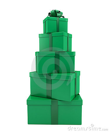 Heap of gifts of green color