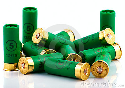 Heap of hunting cartridges for shotgun