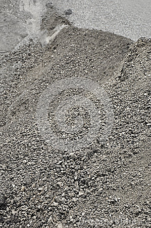Heap of mixed gravel and asphalt