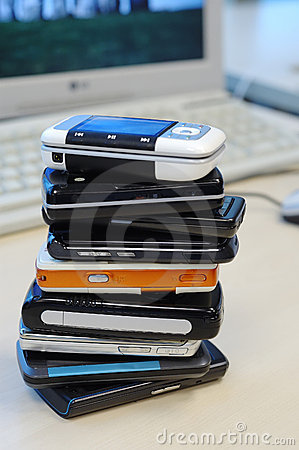 Heap of mobile phones