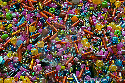 Heap of multicolor beads different forms