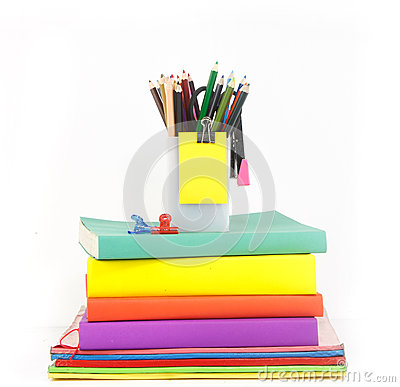 Free Heap Of Book And Stationery Against White Background Stock Photography - 37800782