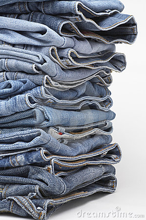 Free Heap Of Modern Designer Blue Jeans Royalty Free Stock Photography - 3979097