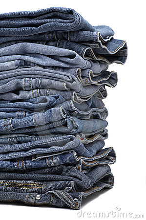 Free Heap Of Modern Designer Blue Jeans Royalty Free Stock Image - 3979286