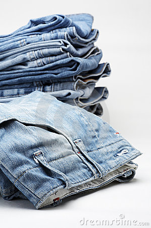 Free Heap Of Modern Designer Blue Jeans Stock Photography - 3979302