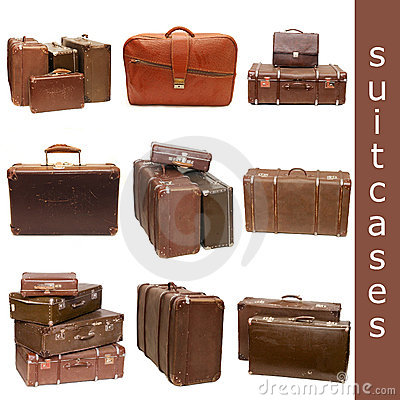 Heap of old suitcases - collage