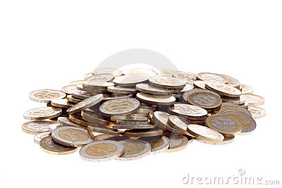 Heap of one and two euro coins isolated on white