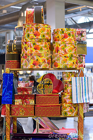 Heap of packing color gift boxeson the table