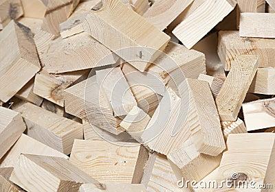 Heap of pine wood cuttings