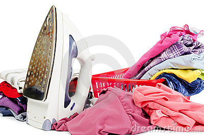 Heap of pure clothes with iron