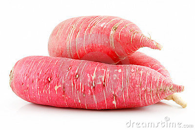 Heap of Ripe Red Radish Isolated on White
